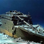 Computer stitched image of the real Titanic at the bottom